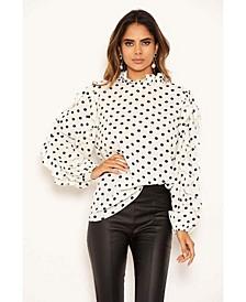 Women's Polka Dot Frilled Sleeve High Neck Top