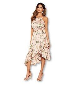 Women's Floral Printed Wrap Frill Midi Dress