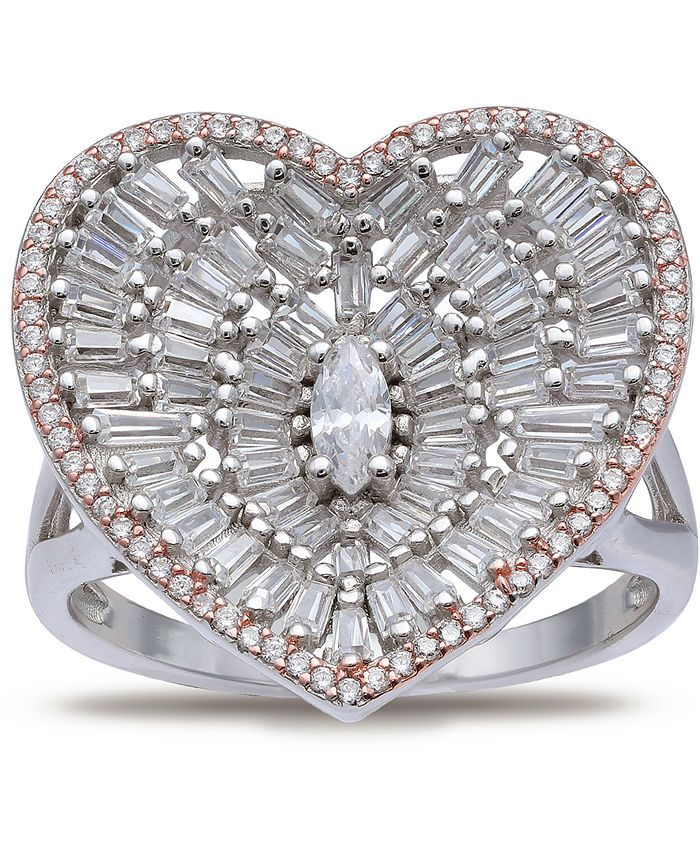 Macy's - Cubic Zirconia Baguette Heart Statement Ring in Sterling Silver