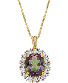 """Mystic Topaz (5-5/8 ct. t.w.) & Cubic Zirconia 18"""" Pendant Necklace in 14k Gold-Plated Sterling Silver"""
