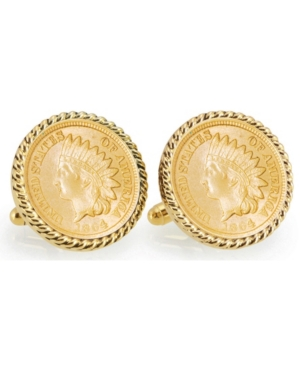 Gold-Layered Civil War Indian Head Penny Rope Bezel Coin Cuff Links