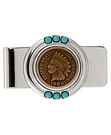 Indian Head Penny Turquoise Coin Money Clip