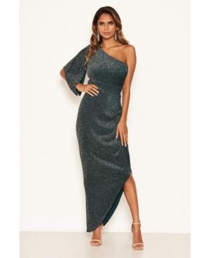 Women's One Shoulder Sparkle Maxi Dress