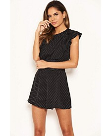 Women's Polka Dot Frill Panel Romper