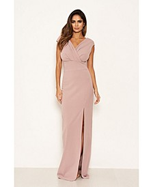 Women's Wrap V-Neck Slit Maxi Dress