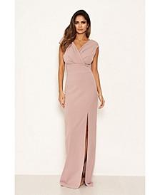 Women's Wrap V-Neck Slit Maxi Dress