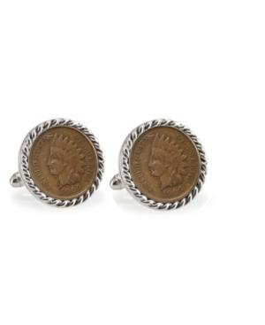 Indian Head Penny Rope Bezel Coin Cuff Links