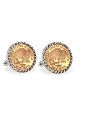 Gold-Layered 2005 Bison Nickel Rope Bezel Coin Cuff Links