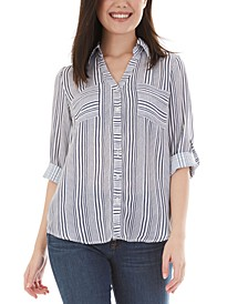 Juniors' Woven-Striped Button-Up Top