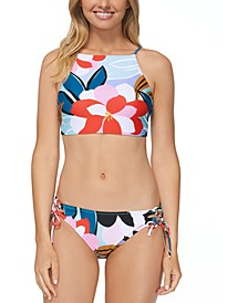 Juniors' Printed Lucky Day Shorebreak High-Neck Bikini Top & Hipster Bottoms