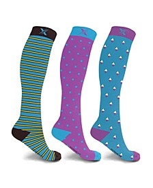 Men's and Women's Compression Knee High Socks - 3 Pair