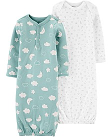Baby Girls or Boys 2-Pack Cotton Sleeper Gowns