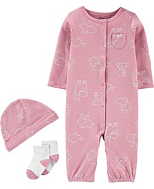 Baby Girls 3-Pc. Animal-Print Cotton Coverall, Hat & Socks Set