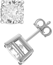 Cubic Zirconia Cushion Stud Earrings in Fine Silver and Gold Plate