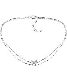 Cubic Zirconia Butterfly Double Strand Ankle Bracelet in Fine Silver-Plate