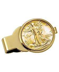 Gold-Layered Silver Walking Liberty Half Dollar Coin Money Clip