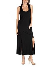 Sleeveless Slip Maxi Dress with Side Slits and Pockets
