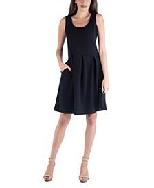 Sleeveless Skater Pleated Mini Dress with Pockets