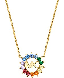 """14k Gold-Plated Sterling Silver Multicolor Cubic Zirconia Logo Pendant Necklace, 16"""" + 2"""" extender"""