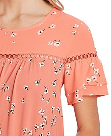 Embellished Floral-Print Top