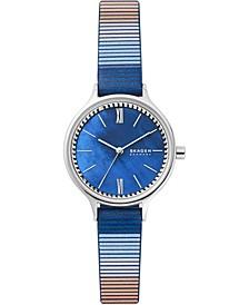 Women's Anita Blue-Striped Leather Strap Watch 30mm
