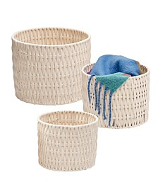 Set of 3 Metal Frame Nesting Round Rope Baskets