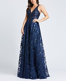 Embroidered Embellished V-Neck Gown