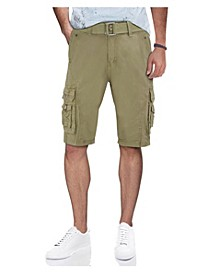 Men's Belted Snap Detail Cargo Shorts
