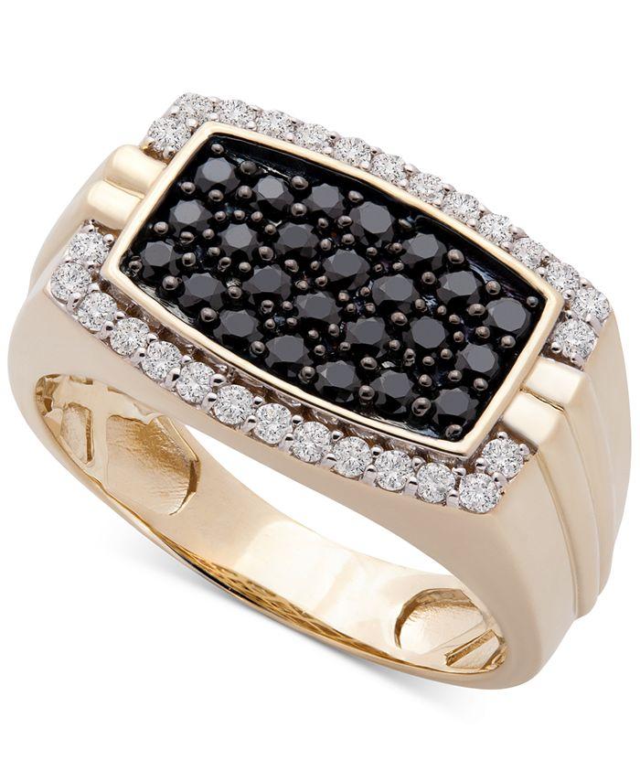Macy's - Men's Diamond Cluster Ring (1 ct. t.w.) in 10k Gold