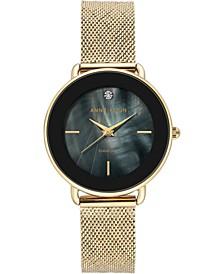 Women's Diamond-Accent Gold-Tone Stainless Steel Mesh Bracelet Watch 32mm