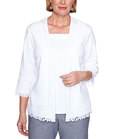 Petite Bella Vista Layered-Look Lace-Trim Top