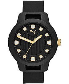 Men's Reset Black Silicone Strap Watch 43mm