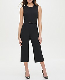 Cropped Studded-Belt Jumpsuit