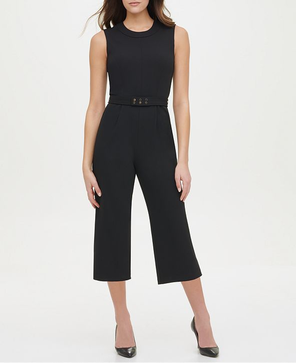 Tommy Hilfiger Cropped Studded-Belt Jumpsuit
