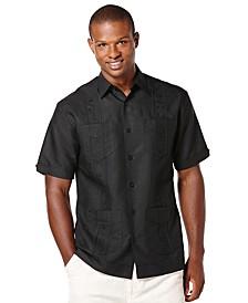 Men's Big and Tall Embroidered Panel 4-Pocket Guayabera Shirt