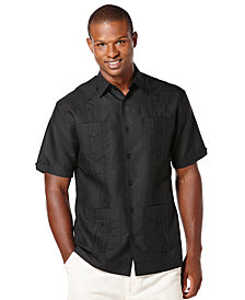 Cubavera Men's Big and Tall Embroidered Panel 4-Pocket Guayabera Shirt