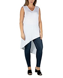 Women's Plus Size Sleeveless Asymmetric Tunic Top