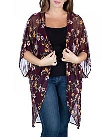 Women's Plus Size Long Floral Print Kimono