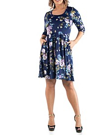 Women's Plus Size Floral Print Fit and Flare Dress