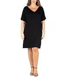 24seven Comfort Apparel Women's Plus Size V-neck Loose Fit Resort Dress