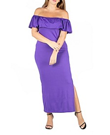 Women's Plus Size Ruffle Off Shoulder Maxi Dress