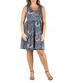 Women's Plus Size Paisley Fit and Flare Dress