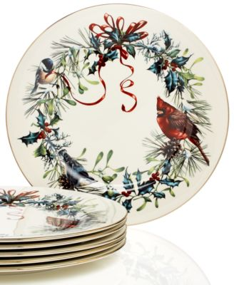 main image; main image ...  sc 1 st  Macyu0027s & Lenox Winter Greetings Set of 6 Dinner Plates - Fine China - Macyu0027s