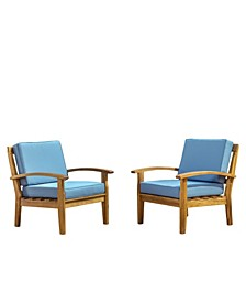Aletta Outdoor Club Chairs with Cushions, Set of 2