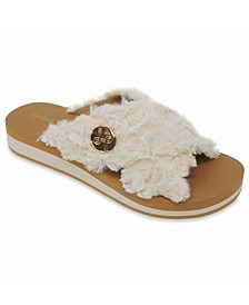 Lotus Crisscross Wedge Slide Sandal