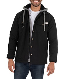 Men's Quilted Lined Flex Canvas Shirt Jacket with Sherpa Lined Fleece Hood
