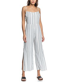 Juniors' Feelings Catcher Striped Strappy Jumpsuit