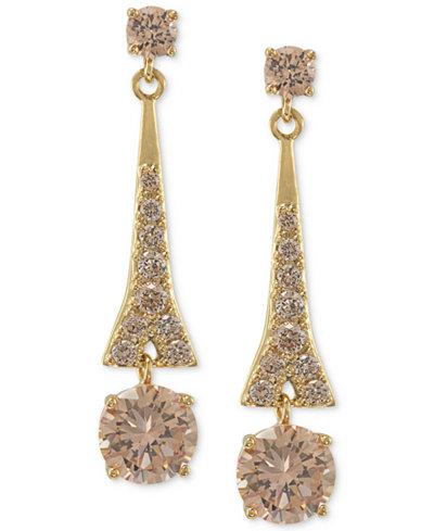 Carolee Earrings, Gold-Tone Glass Bead Linear Drop Earrings