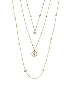 Triple Layered Crystal Detailed Women's Necklace