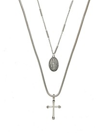 Like A Prayer Layered Cross And Coin Women's Necklace